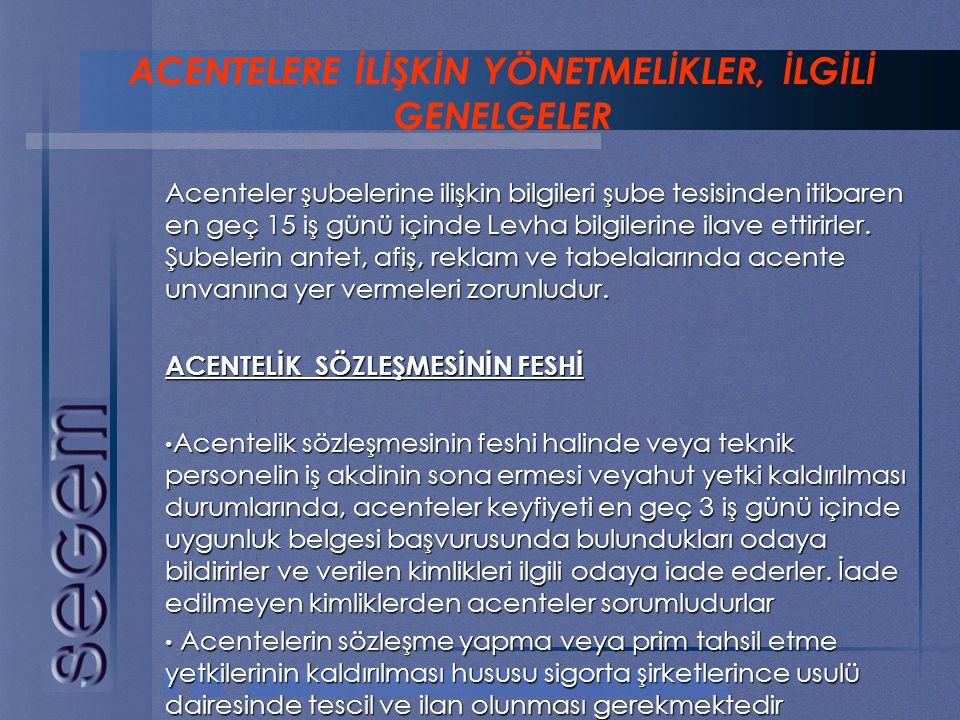 ACENTELERE İLİŞKİN YÖNETMELİKLER, İLGİLİ GENELGELER