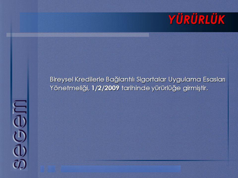 YÜRÜRLÜK Bireysel Kredilerle Bağlantılı Sigortalar Uygulama Esasları Yönetmeliği, 1/2/2009 tarihinde yürürlüğe girmiştir.