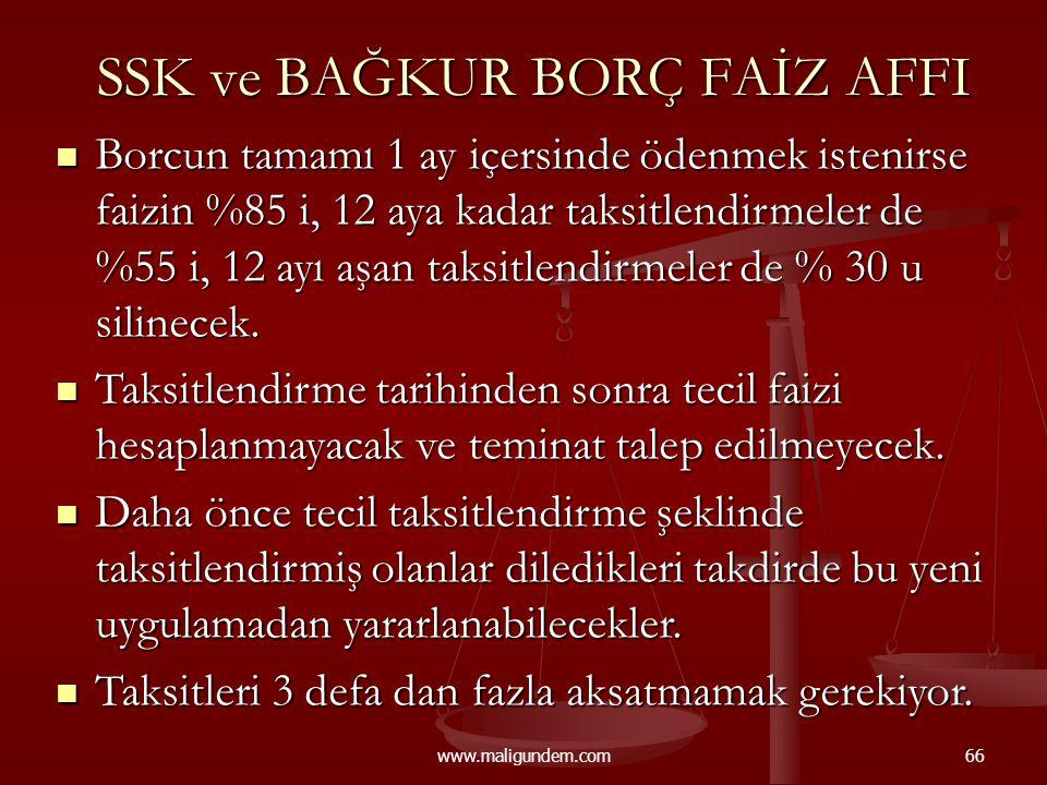 SSK ve BAĞKUR BORÇ FAİZ AFFI