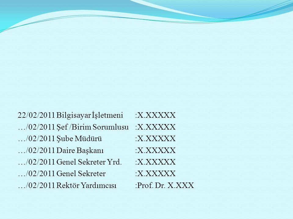 22/02/2011 Bilgisayar İşletmeni :X