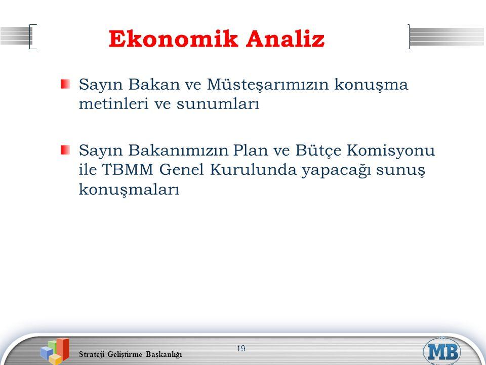 Ekonomik Analiz Sayın Bakan ve Müsteşarımızın konuşma metinleri ve sunumları.