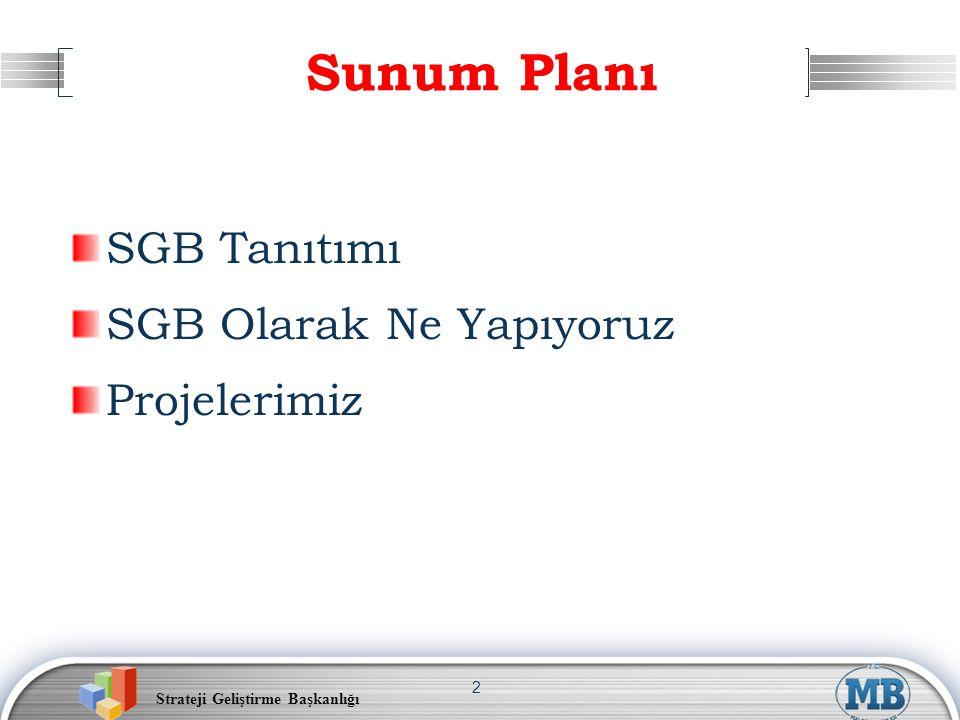 Sunum Planı SGB Tanıtımı SGB Olarak Ne Yapıyoruz Projelerimiz