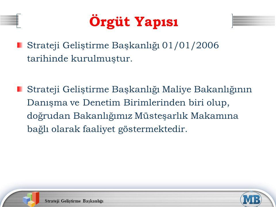 Örgüt Yapısı Strateji Geliştirme Başkanlığı 01/01/2006 tarihinde kurulmuştur.