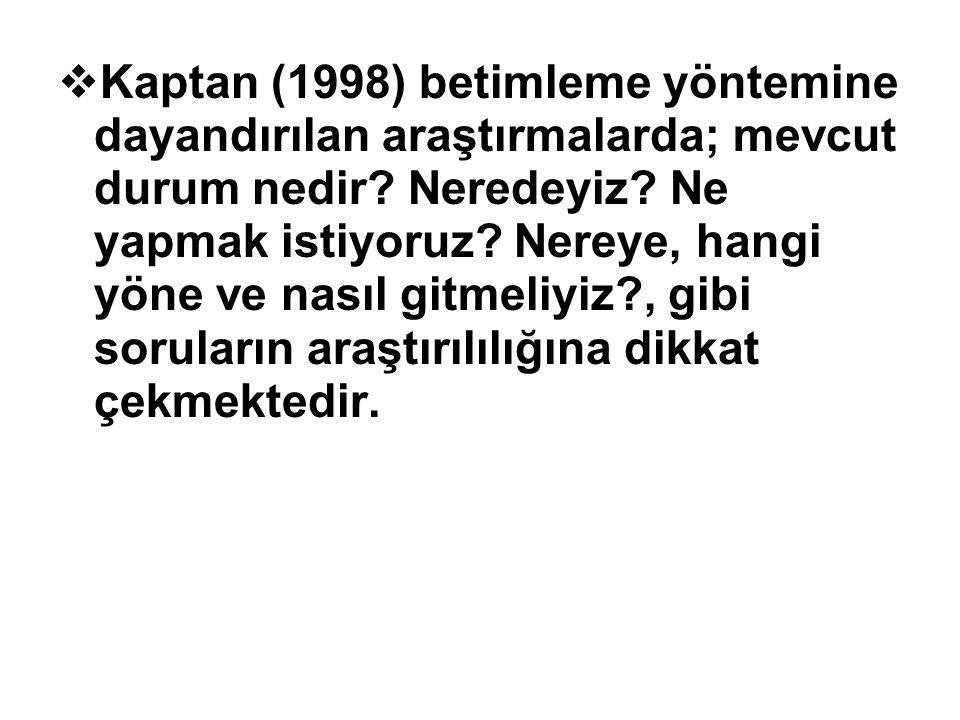Kaptan (1998) betimleme yöntemine dayandırılan araştırmalarda; mevcut durum nedir.