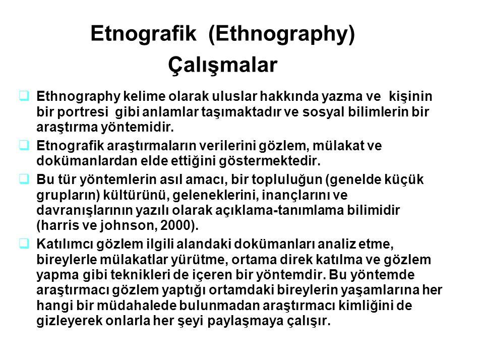 Etnografik (Ethnography) Çalışmalar