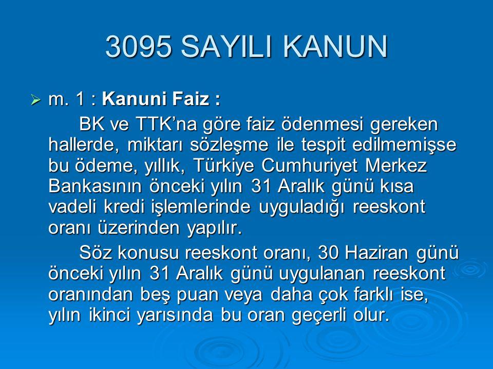 3095 SAYILI KANUN m. 1 : Kanuni Faiz :