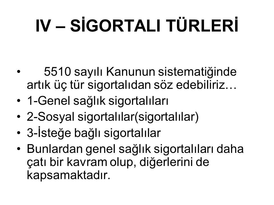 IV – SİGORTALI TÜRLERİ 5510 sayılı Kanunun sistematiğinde artık üç tür sigortalıdan söz edebiliriz…