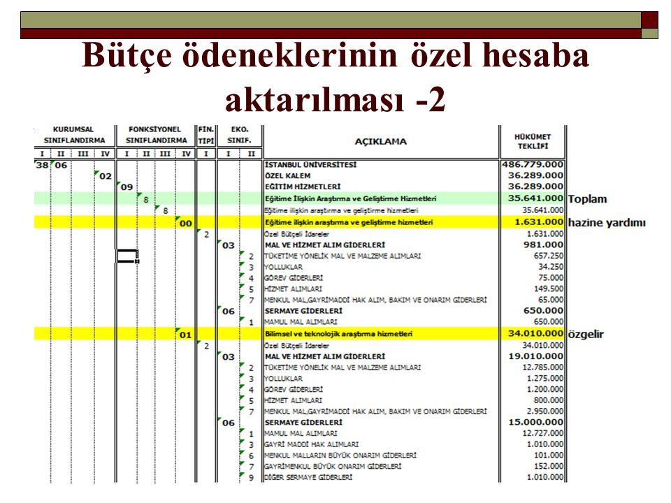 Bütçe ödeneklerinin özel hesaba aktarılması -2