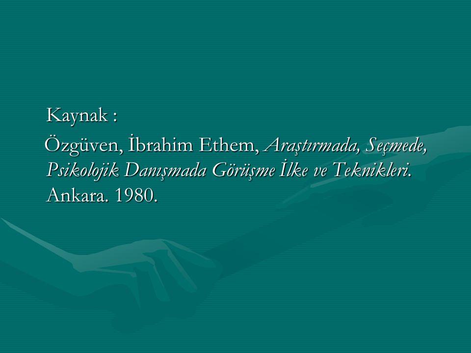 Kaynak : Özgüven, İbrahim Ethem, Araştırmada, Seçmede, Psikolojik Danışmada Görüşme İlke ve Teknikleri.