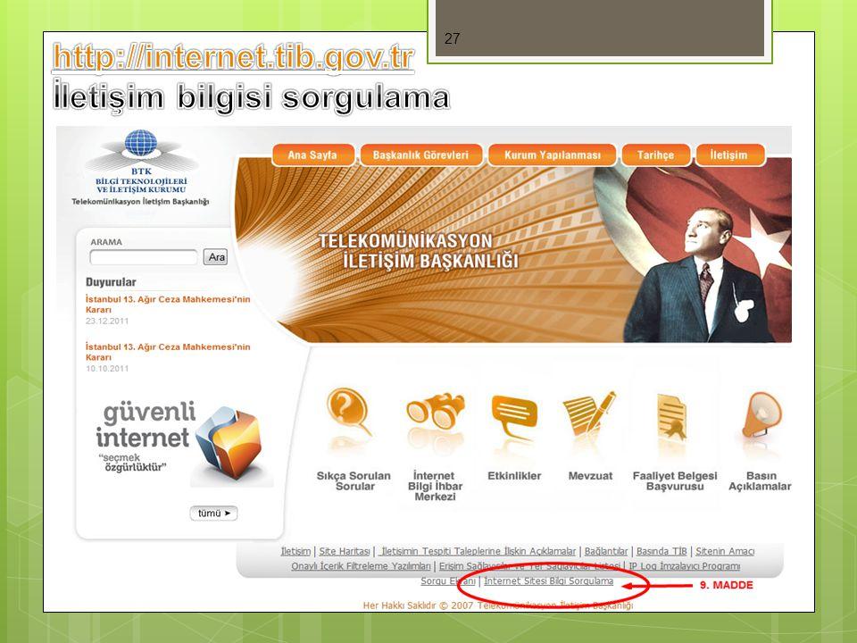 http://internet.tib.gov.tr İletişim bilgisi sorgulama