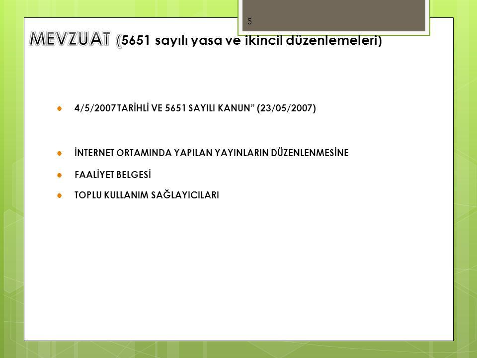 MEVZUAT (5651 sayılı yasa ve ikincil düzenlemeleri)