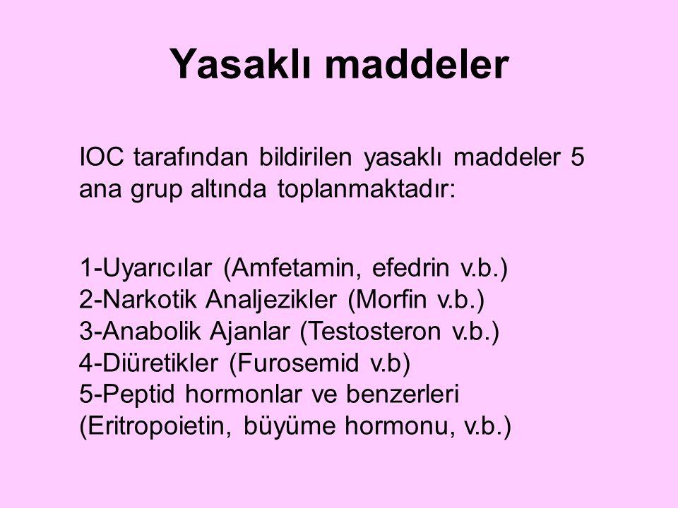 Yasaklı maddeler IOC tarafından bildirilen yasaklı maddeler 5 ana grup altında toplanmaktadır: