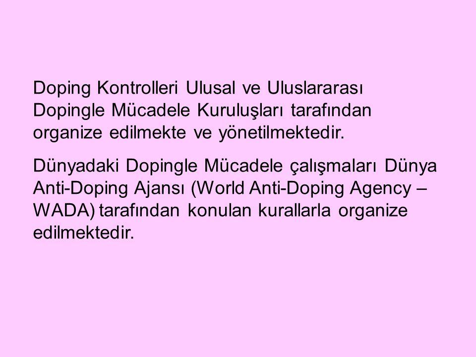 Doping Kontrolleri Ulusal ve Uluslararası Dopingle Mücadele Kuruluşları tarafından organize edilmekte ve yönetilmektedir.