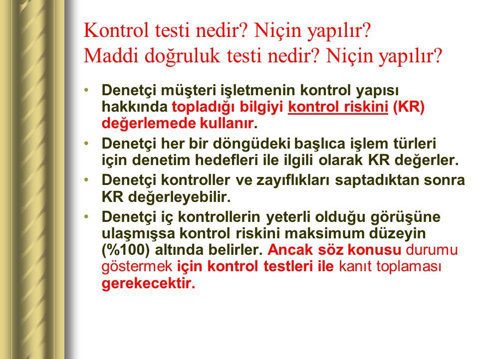 Kontrol testi nedir. Niçin yapılır. Maddi doğruluk testi nedir