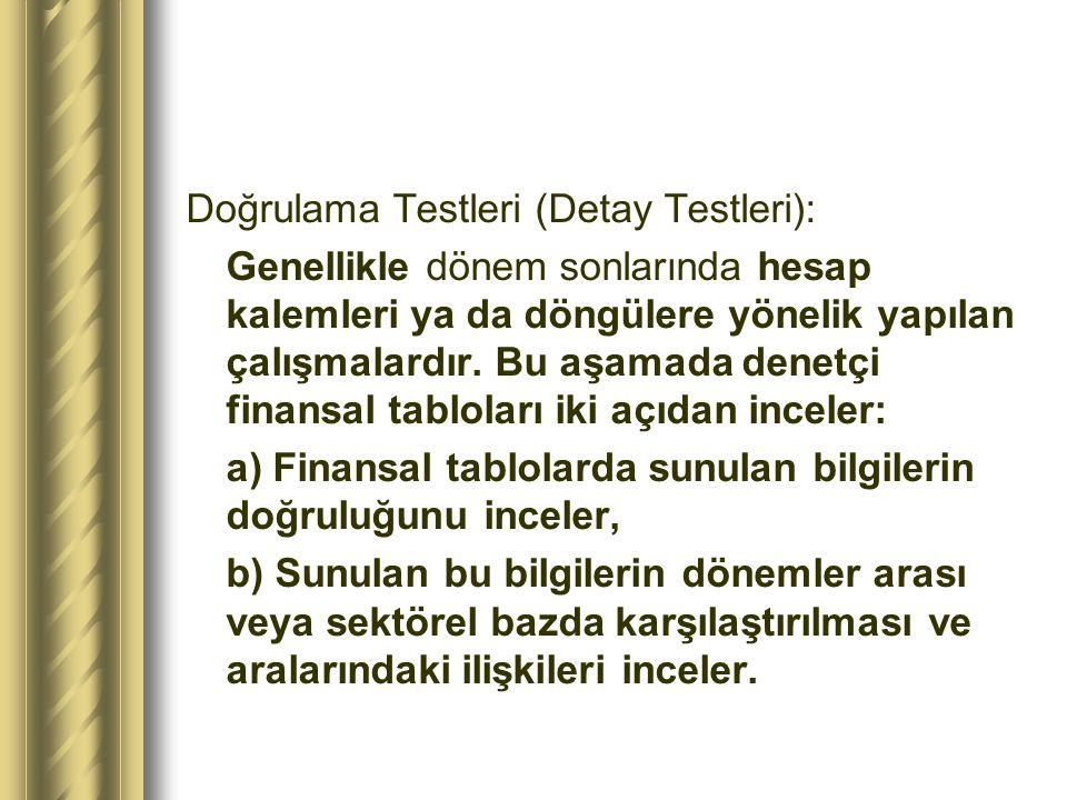 Doğrulama Testleri (Detay Testleri):