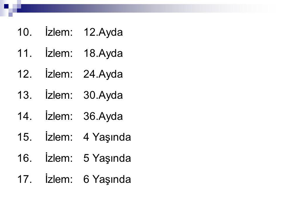 10. İzlem: 12.Ayda 11. İzlem: 18.Ayda. 12. İzlem: 24.Ayda. 13. İzlem: 30.Ayda. 14. İzlem: 36.Ayda.