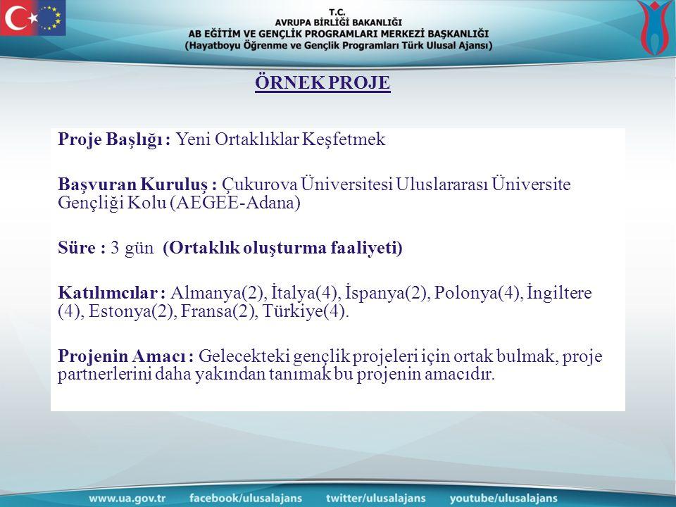 ÖRNEK PROJE Proje Başlığı : Yeni Ortaklıklar Keşfetmek. Başvuran Kuruluş : Çukurova Üniversitesi Uluslararası Üniversite Gençliği Kolu (AEGEE-Adana)