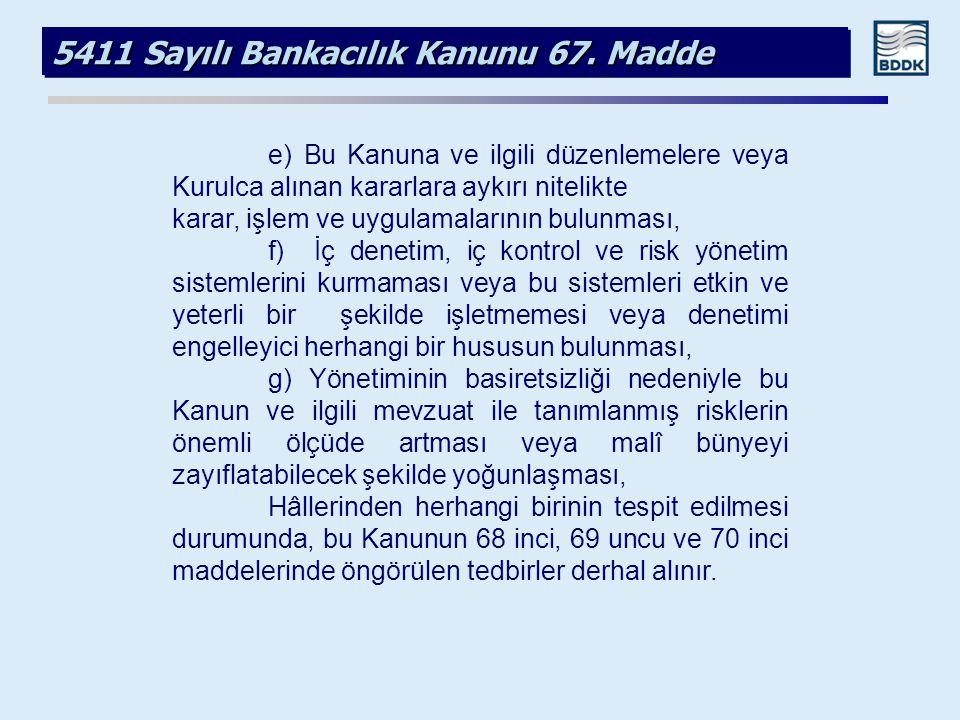 5411 Sayılı Bankacılık Kanunu 67. Madde