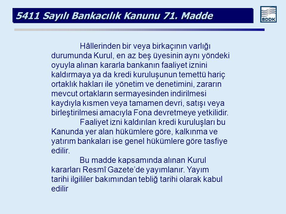 5411 Sayılı Bankacılık Kanunu 71. Madde