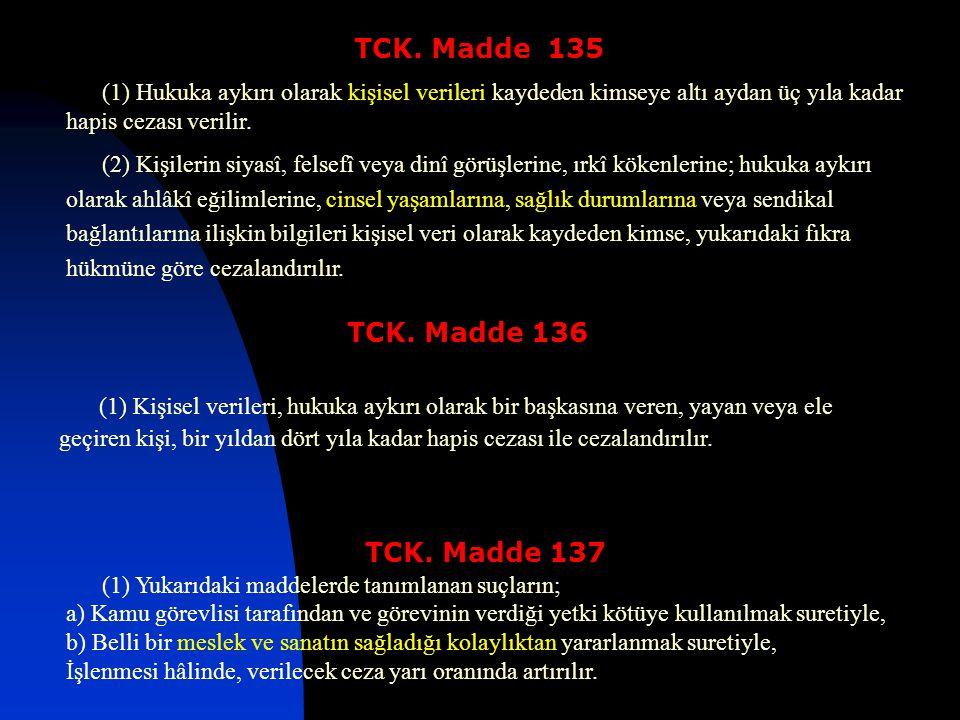 TCK. Madde 135 (1) Hukuka aykırı olarak kişisel verileri kaydeden kimseye altı aydan üç yıla kadar hapis cezası verilir.