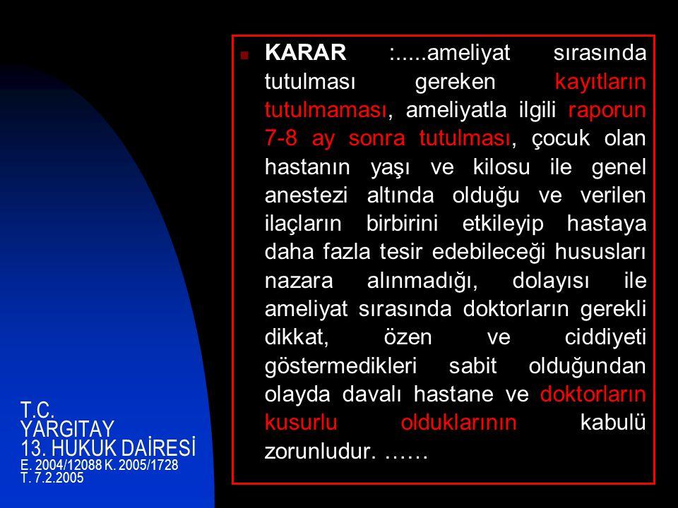 T.C. YARGITAY 13. HUKUK DAİRESİ E. 2004/12088 K. 2005/1728 T. 7.2.2005