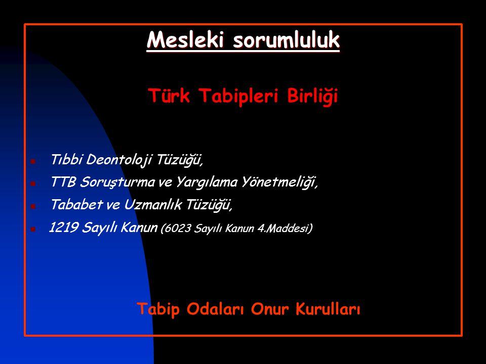 Türk Tabipleri Birliği Tabip Odaları Onur Kurulları