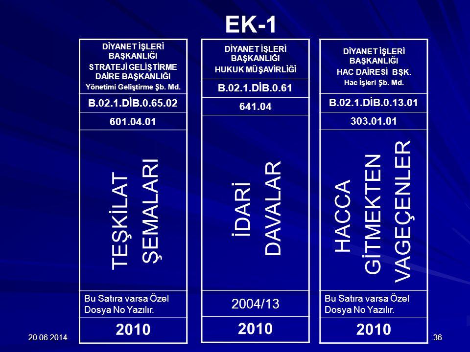 EK-1 VAGEÇENLER GİTMEKTEN DAVALAR ŞEMALARI HACCA İDARİ TEŞKİLAT 2010