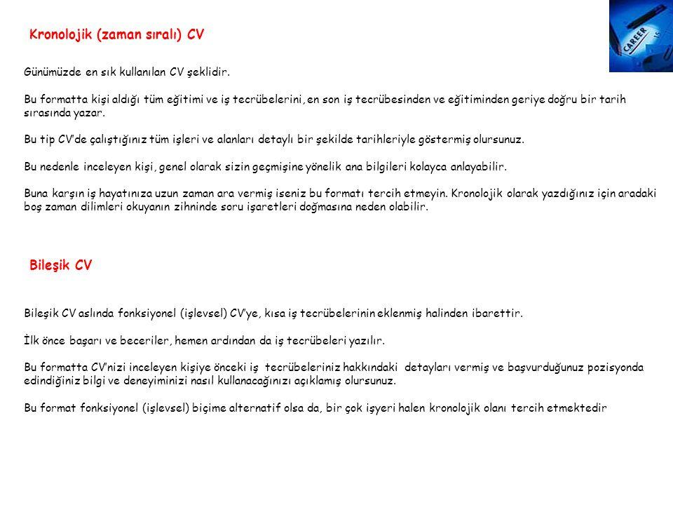 Kronolojik (zaman sıralı) CV