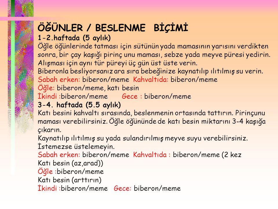 ÖĞÜNLER / BESLENME BİÇİMİ