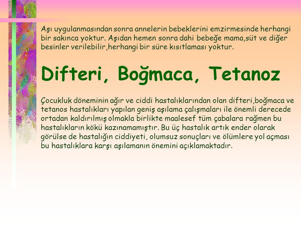 Difteri, Boğmaca, Tetanoz