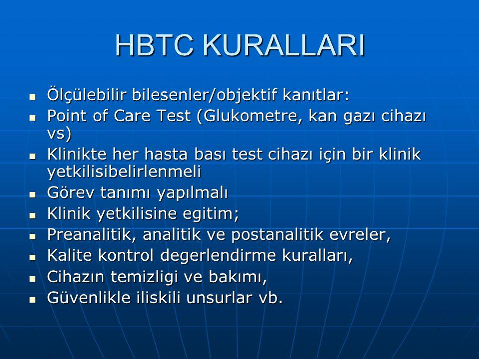 HBTC KURALLARI Ölçülebilir bilesenler/objektif kanıtlar: