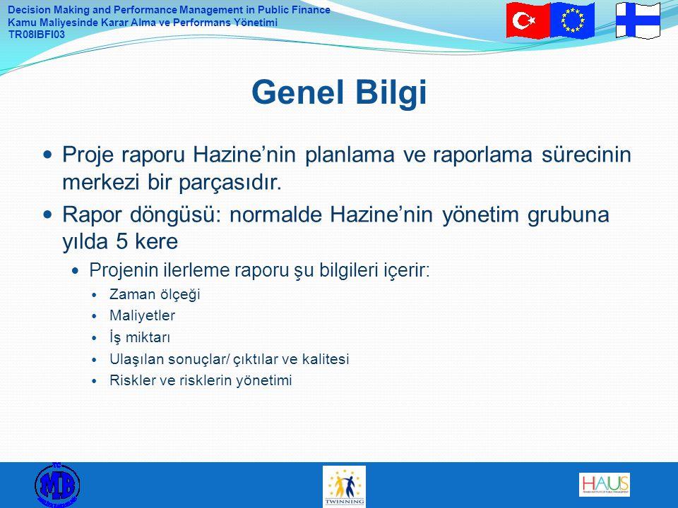 Genel Bilgi Proje raporu Hazine'nin planlama ve raporlama sürecinin merkezi bir parçasıdır.