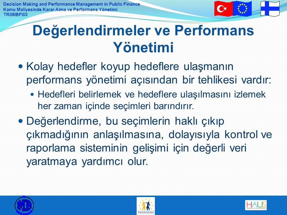 Değerlendirmeler ve Performans Yönetimi
