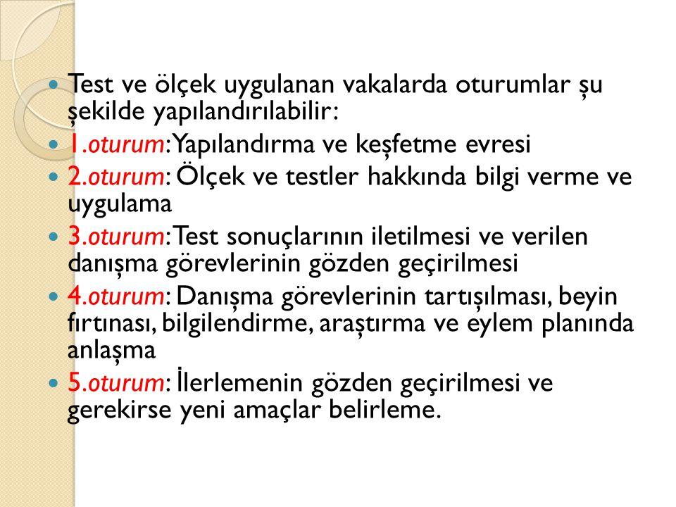 Test ve ölçek uygulanan vakalarda oturumlar şu şekilde yapılandırılabilir: