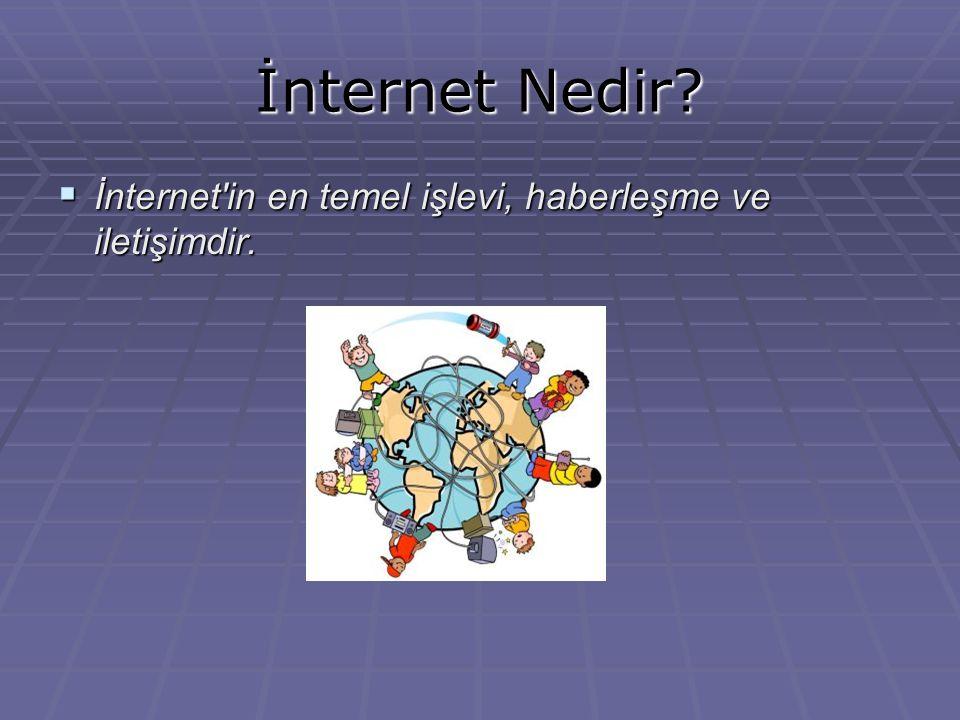 İnternet Nedir İnternet in en temel işlevi, haberleşme ve iletişimdir.