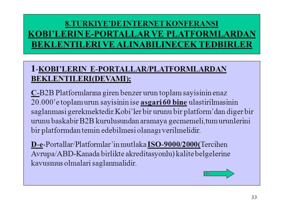 1-KOBI'LERIN E-PORTALLAR/PLATFORMLARDAN BEKLENTILERI(DEVAMI);