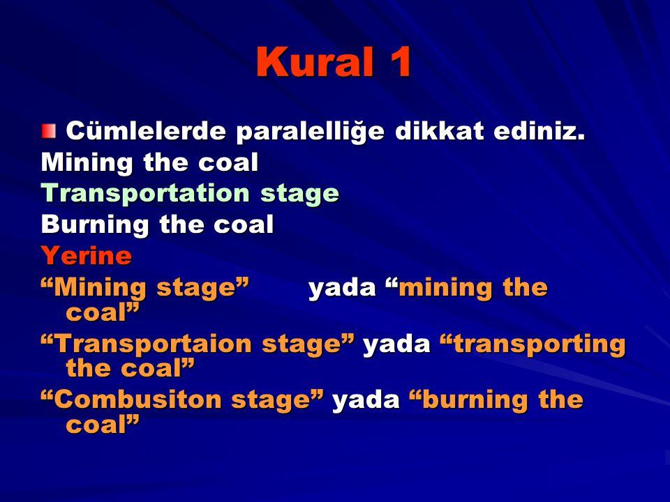 Kural 1 Cümlelerde paralelliğe dikkat ediniz. Mining the coal