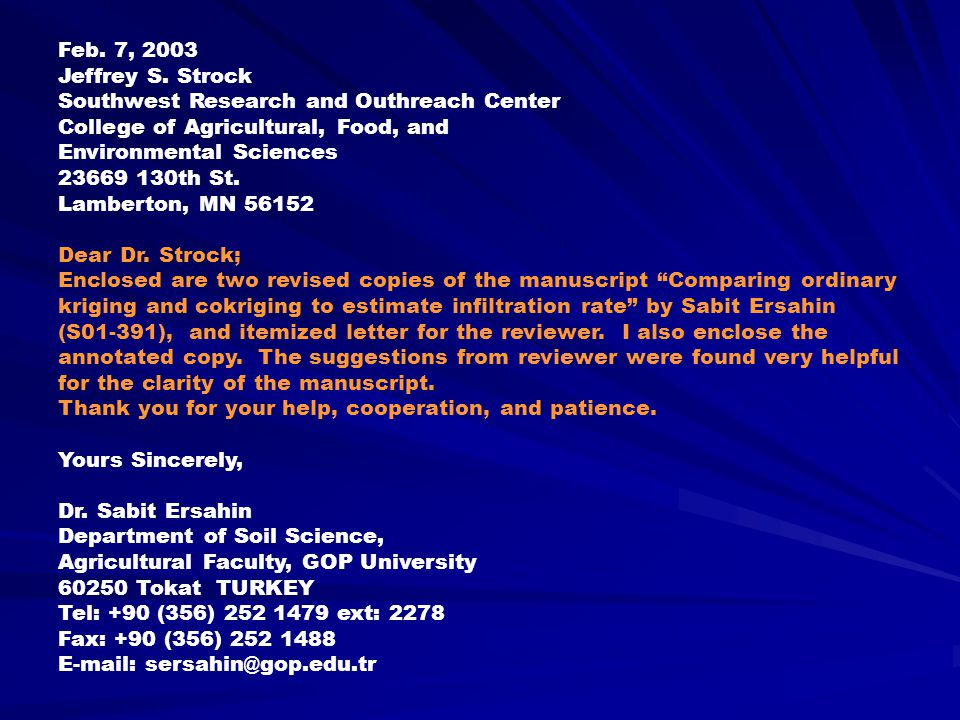 Feb. 7, 2003 Jeffrey S. Strock. Southwest Research and Outhreach Center. College of Agricultural, Food, and.