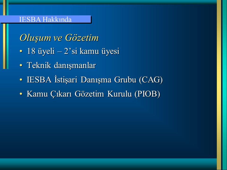 Oluşum ve Gözetim 18 üyeli – 2'si kamu üyesi Teknik danışmanlar