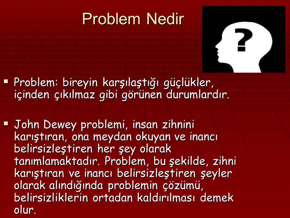 Problem Nedir Problem: bireyin karşılaştığı güçlükler, içinden çıkılmaz gibi görünen durumlardır.