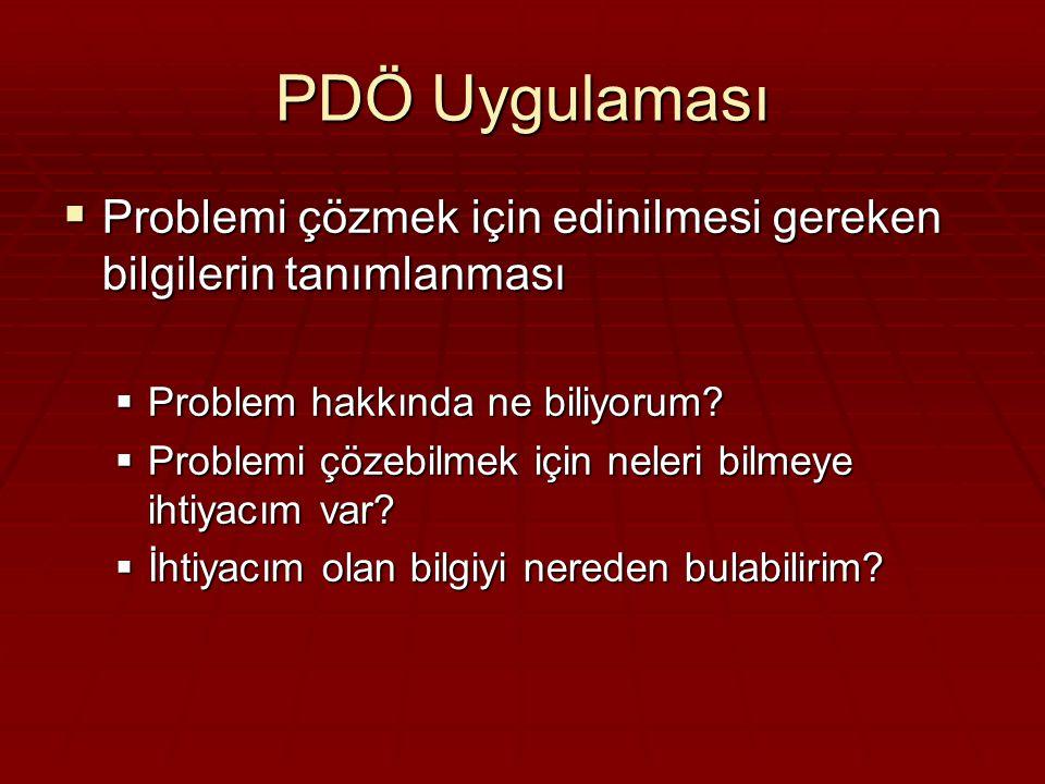 PDÖ Uygulaması Problemi çözmek için edinilmesi gereken bilgilerin tanımlanması. Problem hakkında ne biliyorum