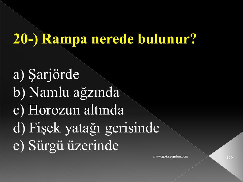 20-) Rampa nerede bulunur a) Şarjörde b) Namlu ağzında