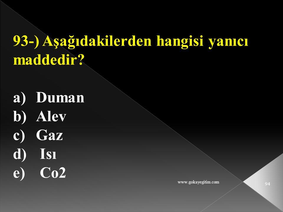 93-) Aşağıdakilerden hangisi yanıcı maddedir