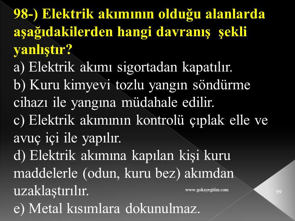 a) Elektrik akımı sigortadan kapatılır.