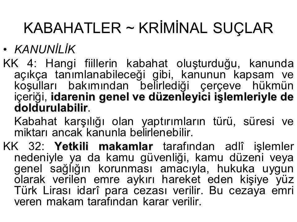 KABAHATLER ~ KRİMİNAL SUÇLAR