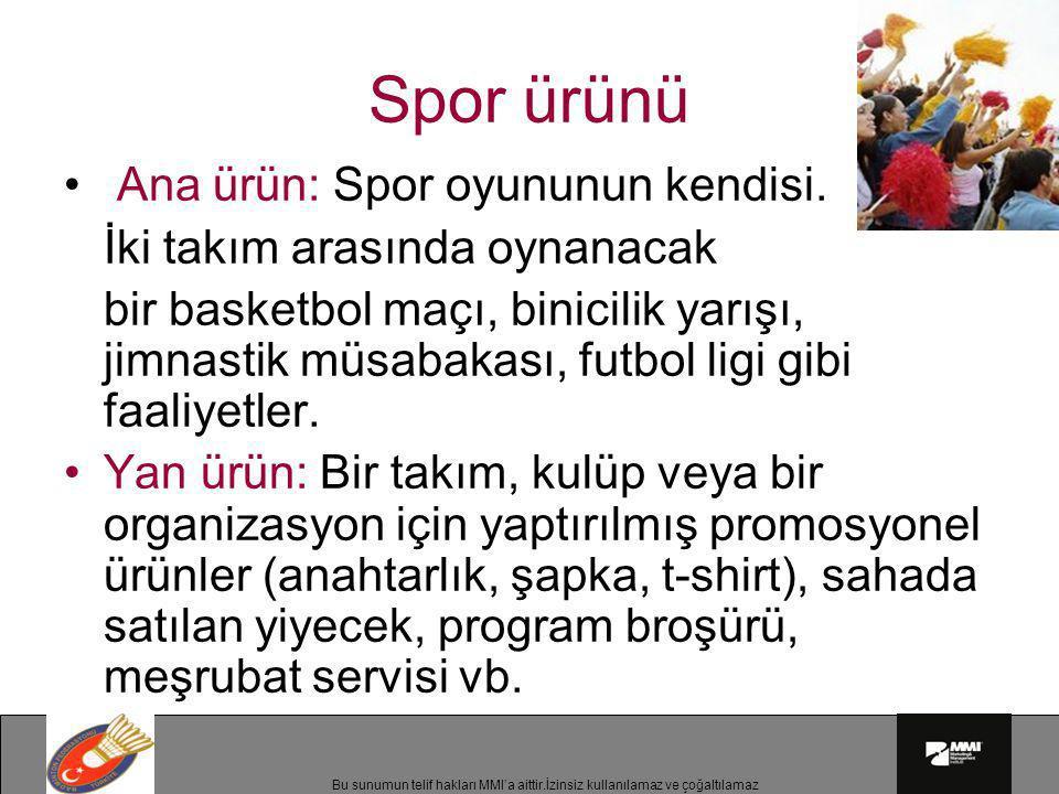 Spor ürünü Ana ürün: Spor oyununun kendisi.