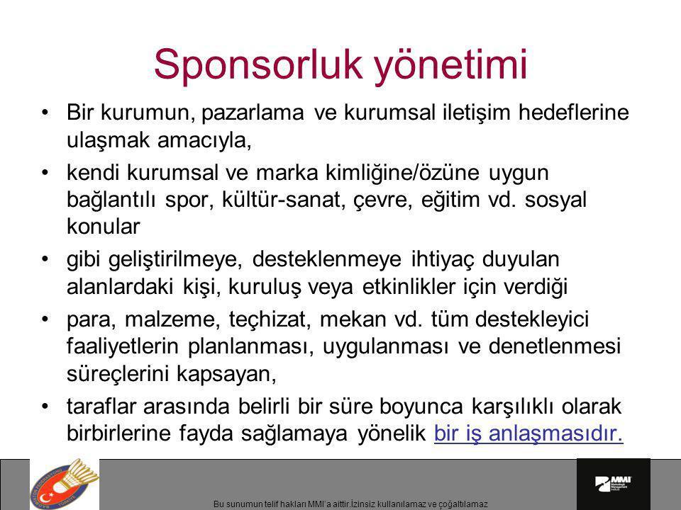Sponsorluk yönetimi Bir kurumun, pazarlama ve kurumsal iletişim hedeflerine ulaşmak amacıyla,