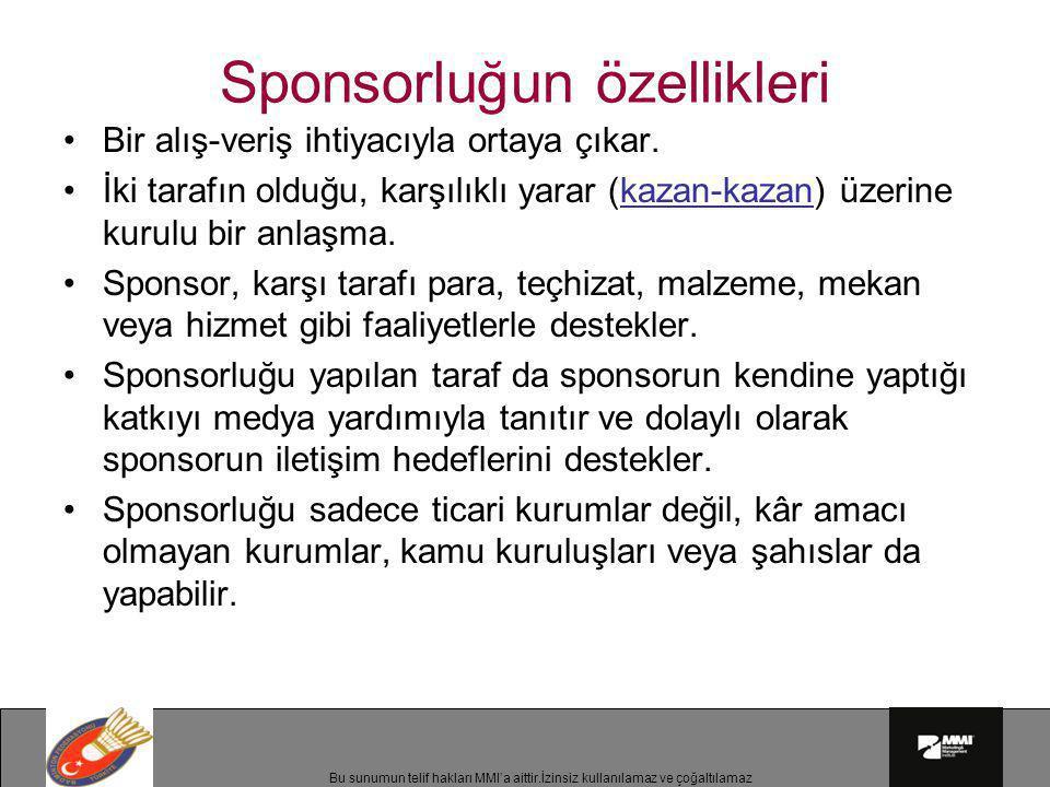 Sponsorluğun özellikleri