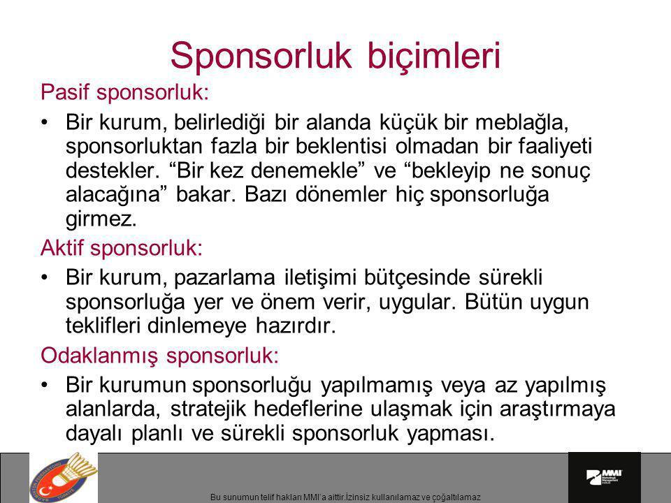 Sponsorluk biçimleri Pasif sponsorluk:
