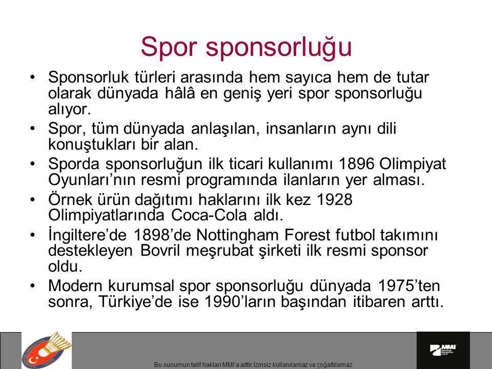 Spor sponsorluğu Sponsorluk türleri arasında hem sayıca hem de tutar olarak dünyada hâlâ en geniş yeri spor sponsorluğu alıyor.